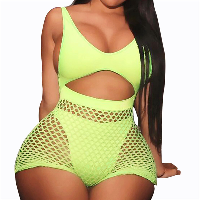 Women  Two Piece Fishnet Swimwear High Waist Shorts 2 Pieces Bikini Set Tanga Swimming Suit Push Up Mesh Neon Swimsuit