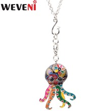 WEVENI Statement Enamel Octopus Necklace Pendants With Specular Effect Chain Collar Ocean Animal Accessories Jewelry For Women(China)