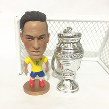 Soccerwe Resin Neymar Jr Football Dolls ( Brasil Team with Copa America Trophy ) White Silver 2016