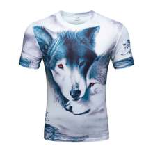 Mens 3D T Shirts Cool Summer O Neck Short Sleeve Wolf Head Fashion Casual Brand Clothing Thin