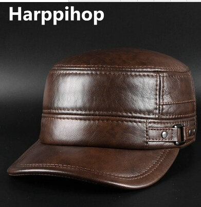 Mens genuine leather baseball cap hat brand new spring real cow leather beret caps hats<br>