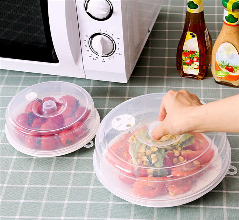 1 Pcs Microwave Oven Safe Oil Cap Heated Sealed Plastic Cover Dish Dishes Dust Cooking