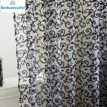 Redcolourfu Romantic Bedroom Cheap Finished Organza Child Window Cortina Flocking Hook Tulle Curtains for Living Room