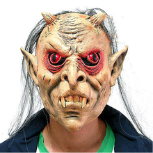 Latex Full Face Red Eyes Long Hair Wig Mask Halloween Toothy Zombie Cosplay Horror Masks(China)