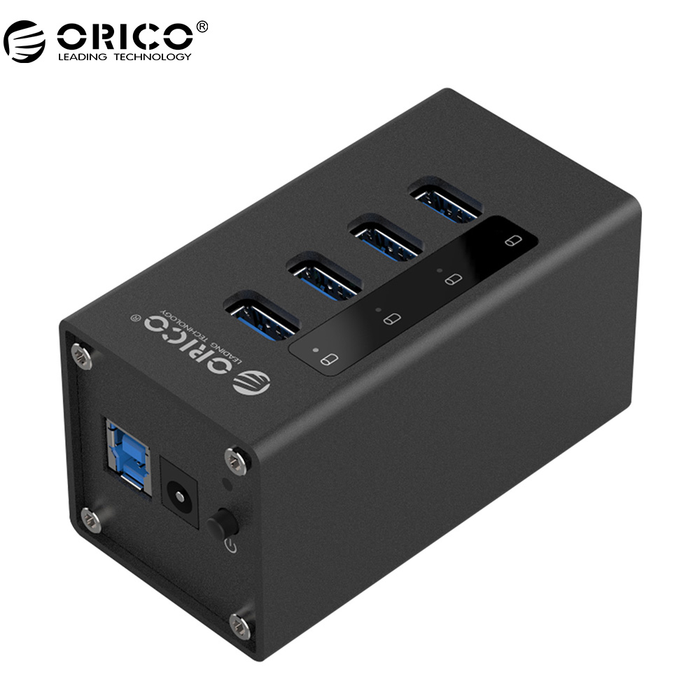ORICO New Design Aluminum 4 Port With Power Supply USB HUB 3.0 For Laptop - Black (A3H4-BK)<br>