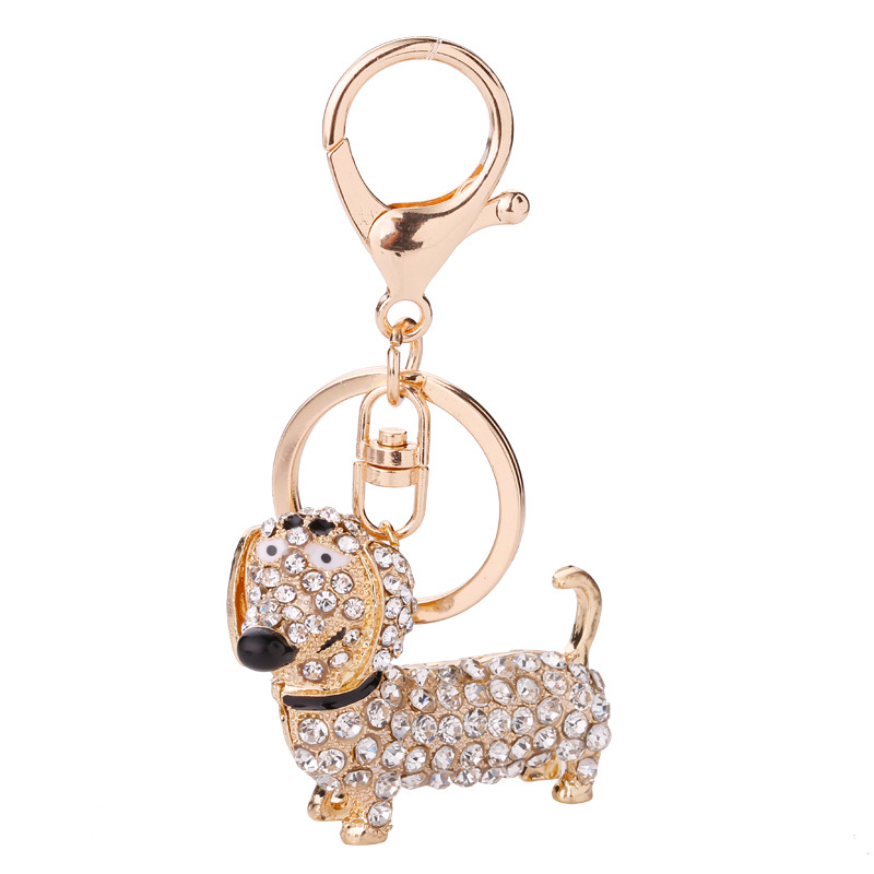Dachshund​ Doxie Dog Pup Acrylic Key Ring Keychain Purse Charm Multicolor Floral