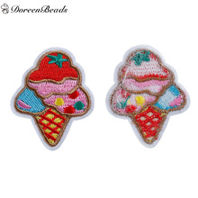 DoreenBeads 5PCs Polyester Patches Appliques DIY Scrapbooking Craft Ice Cream Multicolor Clothes Bags Decoration