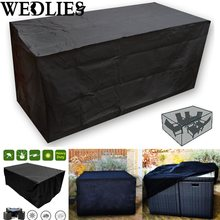 Black Waterproof Outdoor Patio Furniture Set Cover Garden Table Protective Cover Dustproof Table Cloth Home Textile 205X104X71cm(China)