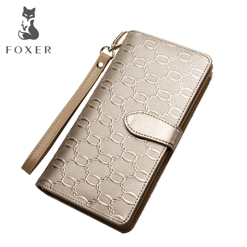 FOXER Brand Women Casual Leather Wallets &amp; Clutch Bags Famous designer Women Purse Fashion Gold Female Leather long Wallet<br><br>Aliexpress