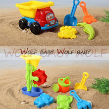 6pcs/lot 25*15*16cm 2 patterns Cute Kids beach plastic toys children toy set dune Sand Beach Toys Bucket Spade Mold Tools summer