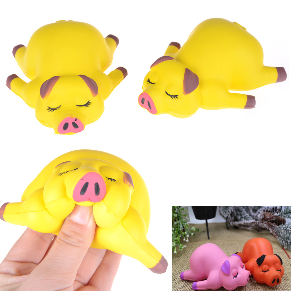 1Pcs PU Sponge Slow Rising Simulate Lying Pig Toy Decoration Squeeze Stress Reliever