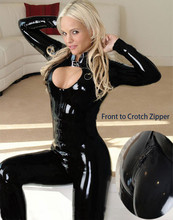 Buy 2017 Black Faux Leather Sexy Catsuit Fetish Gothic Costumes Front Crotch Zipper Latex Bodysuit Women