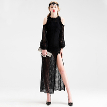 see through hollow out eyelash lace black sexy party long dress cold shoulder long sleeve high split floor length maxi dress(China)