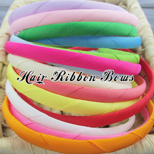 Toplay 40pcs/lot 10MM Grosgrain Headbands Satin Ribbon Covered Plastic Hairbands kids Headband Hair Bands Hair Accessories