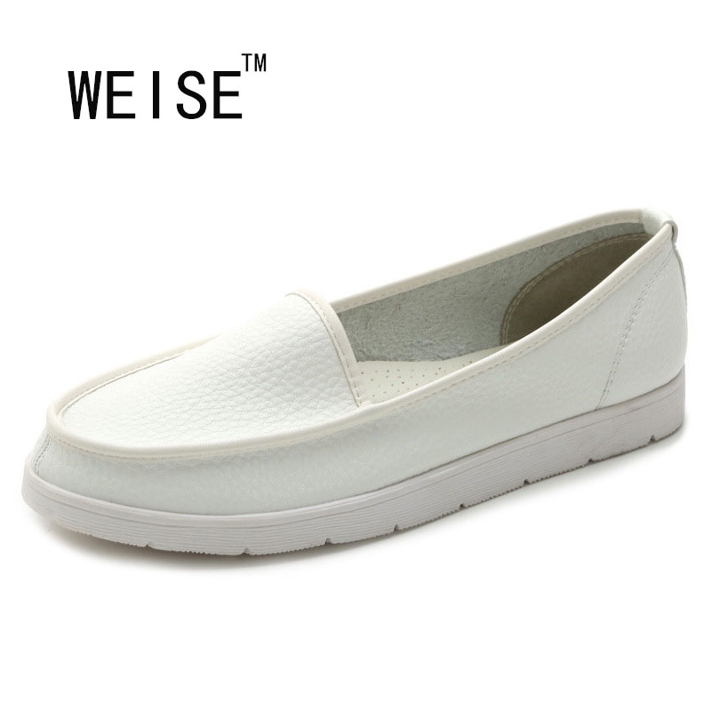 2017 new Korean simple and comfortable shoes leather loafers white shoes<br><br>Aliexpress