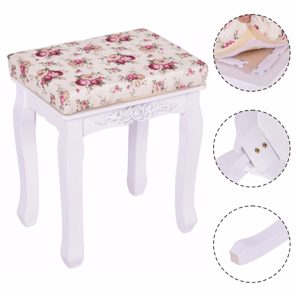 Goplus Modern White Vanity Wood Dressing Stool Padded Chair Makeup Ottoman Stools Piano Seat With Cushion New HB84672<br>