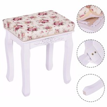 Goplus Modern White Vanity Wood Dressing Stool Padded Chair Makeup Ottoman Stools Piano Seat With Cushion New HB84672(China)
