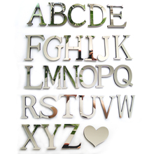 2017 New Acrylic Mirror 3D DIY wall stickers stickers English letters home decoration creative personality Special(China)