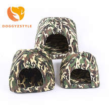 Pet Cat House Soft Winter Camouflage Dog Bed Cloth Cave Dog House Cute Kennel Nest Dog Sponge Cat Bed New DOGGYZSTYLE(China)