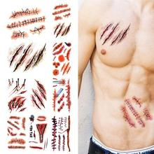 Temporary Tattoo Sticker Terror nontoxic Realistic Blood Injury Scar Fake Tattoo Sticker Vampire Scratch Ghost Wound L3