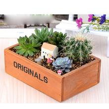 Rustic Wooden Succulent Plant Herb Flower Bed Pot Box Garden Planter(China)