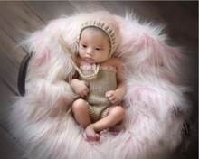 free shipping,Cute newborn Baby Crochet pixie hat with Rompers shorts baby sets Newborn girls photography prop size:0-1m,3-4m(China)