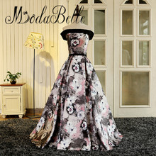 modabelle Robe De Soiree 2017 Print Floral Evening Gown Real Photo Elegant Evening Prom Dress Patterns Arabic Black Pink