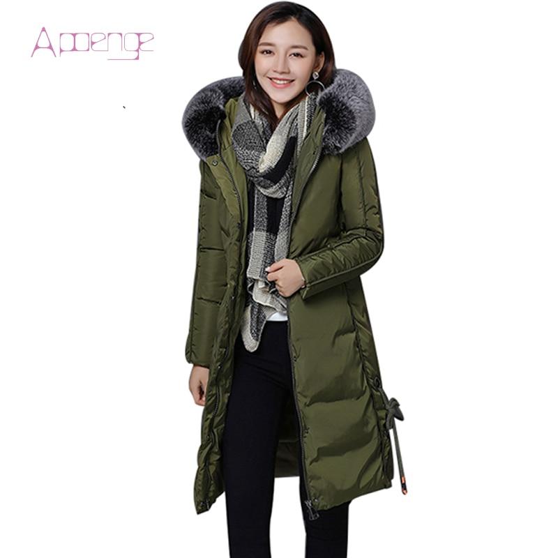 APOENGE Women Jacket 2017 New Long Padded Hooded Coats With Fur Female Cotton Overcoats Warm Wadded Overwear Parkas LZ461Îäåæäà è àêñåññóàðû<br><br>