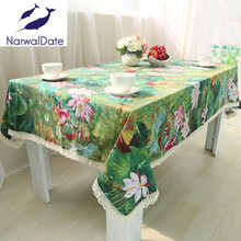 Green Lotus Tablecloths TableCloth Linen Table Cover Rectangle for Wedding/Party/Banquet Wedding Table Cloth Decoration(China)