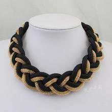 APY Neon color cotton rope candy short design chain multicolor knitted necklace wholesale