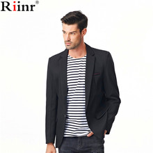 Riinr 2017 Fashion New Arrival Mens Blazers High Quality Autumn Casual Solid Color Cotton Blends Single Button Men Suit Terno(China)