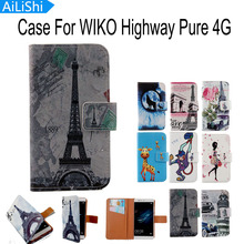 AiLiShi Luxury Accessory Cartoon Flip Cover Skin Pouch With Card Slot PU Leather Case Phone Case For WIKO Highway Pure 4G(China)