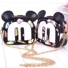 Summer fashion new Korean high-quality PU leather handbags women bag small square package Sweet Mickey printing shoulder bag