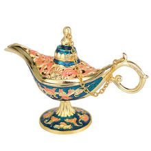 Antique Style Fairy Tale Aladdin Magic Lamps Tea Pot Genie Lamp Vintage Retro Toys For Children Home Decoration Gifts(China)