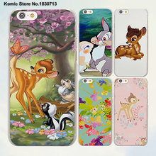 Cute Bambi fawn hearts anime design transparent clear Cases Cover for Apple iPhone 6 6s Plus 7 7Plus SE 5 5s 4s 5c