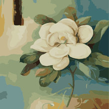 Artistic White Flower Blue Background Digital Canvas Oil Painting By Numbers Kits Wall Art Picture Home Paint Modern Painting(China)