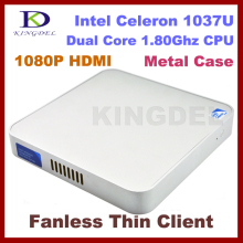 Fanless& Metal Case Terminal Mini pc  Thin Client PC, Mini Computer 4GB RAM+32GB SSD , Intel Celeron 1037U, 1080P HDMI