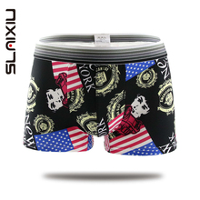 Mens Underwear Cartoon Printing Breathable Panties Mens Sexy Boxers Soft Milk Silk Male Boxer Mid-Waist Men Shorts Boxers