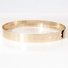 Women Punk Full Metal Mirror skinny Waist Belt 2016 Metallic Gold Plate 3cm Wide Chains Lady ceinture sashes for dresses BL02-2