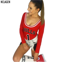 NCLAGEN New Autumn Sexy Slim Bodysuits Women Letter BULLS Print Rompers Overalls Sexy Playsuits Bodycon Black Red Club Jumpsuit