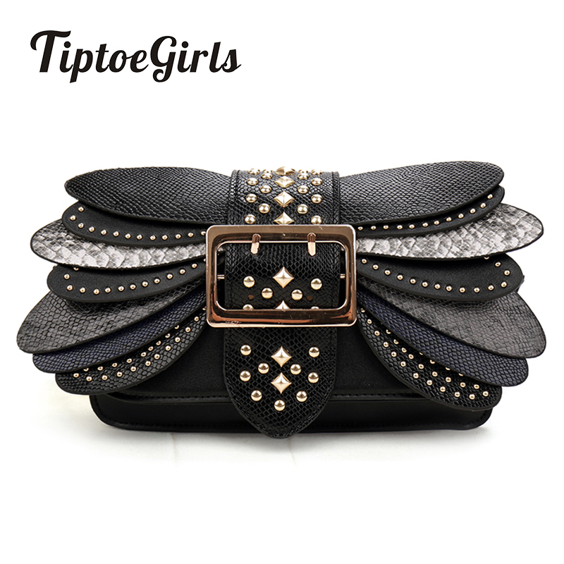 New Autumn and Winter Personalized Fashion Small Bag Female Wide Strap Hit Color Rivets Casual Shoulder Bag Chain Messenger Bag<br>