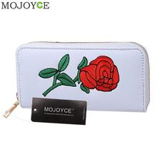 Rose Embroidery Women Long Wallets PU Leather Black Purse Coin Card Clutch Bags Money Bags Summer Phone Clutch Ladies Purses(China)