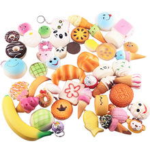 Besegad 10pcs Funny Cute Kawaii Charms Squishy Artificial Bread Croissant Loaf Cake Bun Donuts Anti Stress Anxiety Random Style(China)