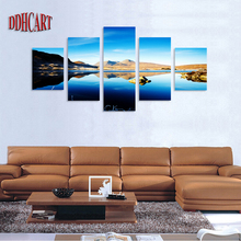 5 Piece Mountain Lake and Blue Sky Scenery Picture Print on Canvas Painting Artwork Wall Art Canvas Painting Home Decor Poster