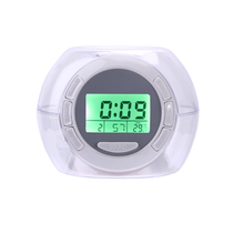 Digital LCD 7 Colors Light Glowing Calendar Alarm Clocks with 6 Nature Sound Night Light Transparent Alarm Clock