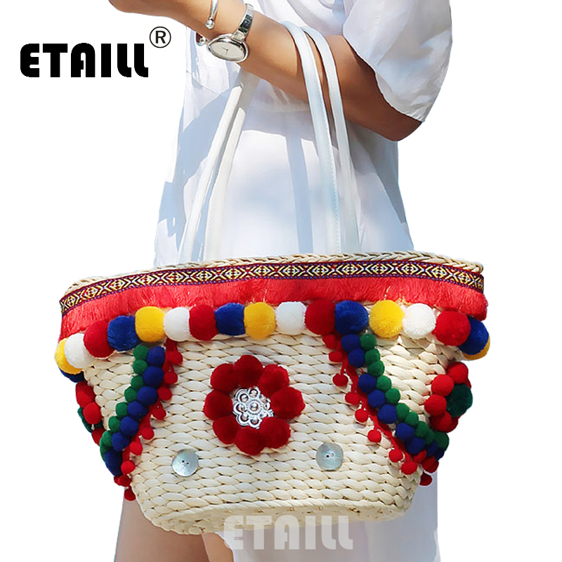 Colorful Pompon Summer Style Handbags Bohemian Boho Indian Straw Bag Famous Designer Brands High Quality Thai Woven Beach Bag(China)