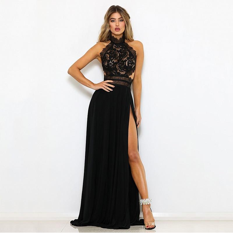 GACVGA Sexy Women Sleeveless Summer Dress Halter Neck Lace Crochet Evening Maxi Long Dress Backless Party Dresses Vestido 6