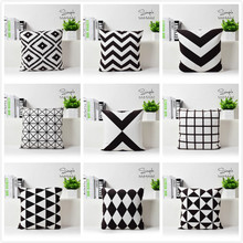 Contemporary and contracted geometric short black and white fluffy hold pillowcase car sofa cushion for leaning on of 43 * 43 No