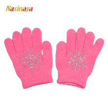 10 Colors Magic Wrist Gloves Figure Skating Ice Training Gloves Exquisite Warm Fleece Thermal Child Adult Snow Rhinestone(China)