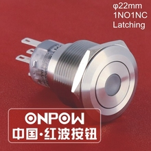 ONPOW 22mm Waterproof IP67 1NO1NC Dot LED Latching Stainless Steel Push Button Switch (GQ22-A-11ZD/R/12V/S) UL, CE, RoHS